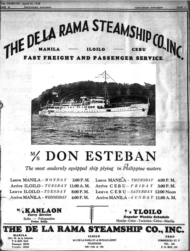 1938 0416 mv Don Esteban_De la Rama Steamship Co ad
